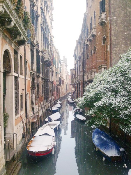 Romantic Valentine's day destinations in Europe, what is more romantic than snow in Venice. This unique feature can happen in February.