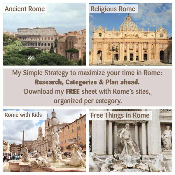 How to maximize your time in Rome. Let me help you categorize the sites of Rome and make the most of your visit to the ancient city.
