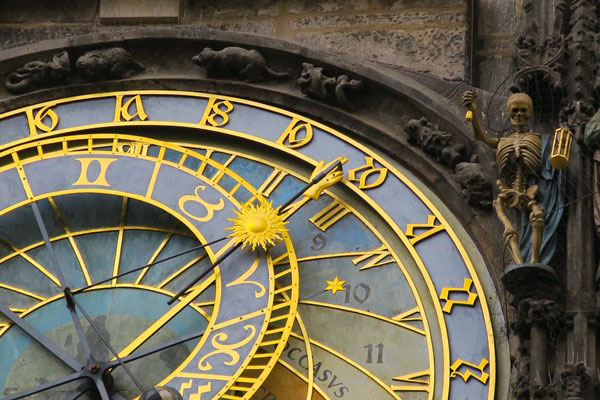 The astronomical clock in Prague during my visit to Prague Easter Market