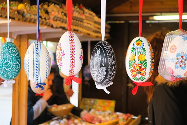 Easter eggs hanging at the Prague Easter markets