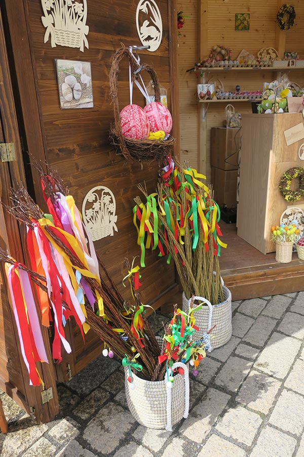 Display of items for sale at Prague Easter Markets