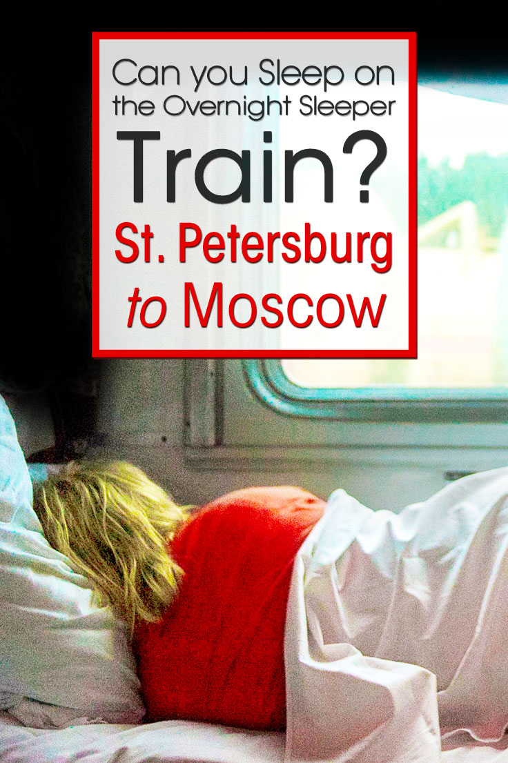 Woman sleeping in the train from St. Petersburg to Moscow. Text overlay with the questions if you can sleep on the overnight sleeper train