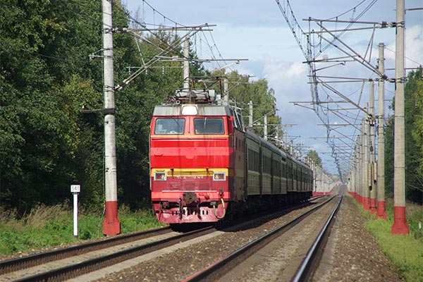 The red train from St. Petersburg to Moscow.