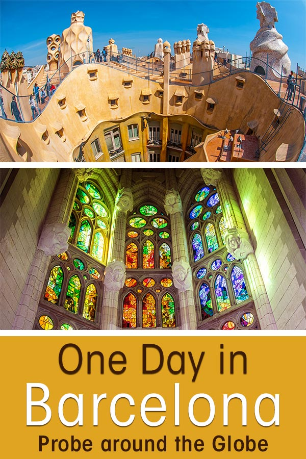 Colourful window of Sagrada Familia in Barcelona Spain with text overlay: Barcelona in one Day: Gaudi Pass