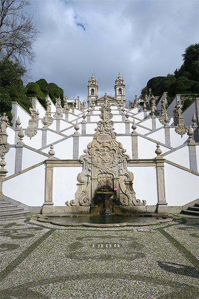 Amazing image of the stair case at Bom Jesus do Monte church, close to Braga and Guimarães in Portugal