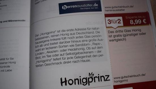 Gutscheinbuch Bochum & Umgebung Honigprinz.de Gutschein Probenqueen
