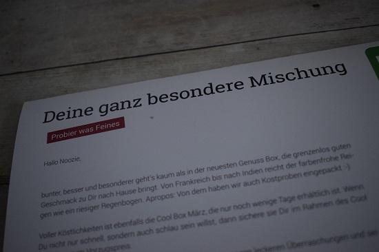 """Genussbox März 2018 Flyer """"Deine ganz besondere Mischung"""" Probenqueen"""