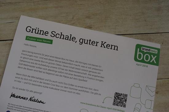 """Brandnooz Box April Flyer """"Grüne Schale, guter Kern"""" Probenqueen"""