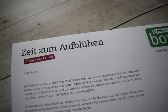Genussbox April 2018 Flyer Zeit-zum-Aufblühen Probenqueen