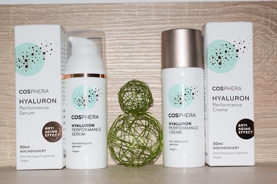 Cosphera Hyaluron Performance Produkttestpaket auf Regal www.probenqueen.de