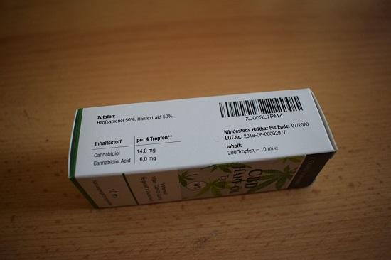 CBD Hanföl Tropfen Zutaten und Inhaltsstoffe auf Verpackung www.probenqueen.de