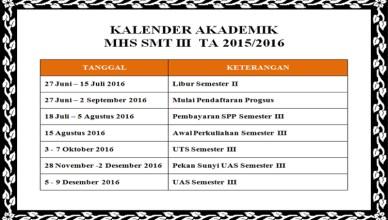 Kalender Akademik Smt III TA 2015/2016