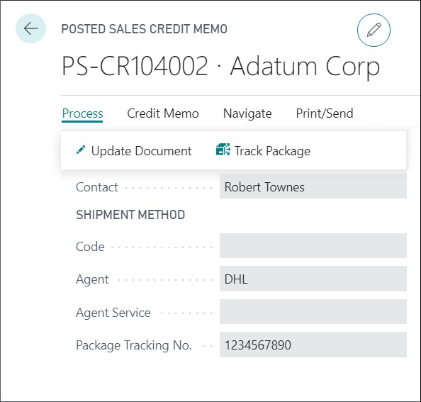 Package tracking from a credit note in Business Central