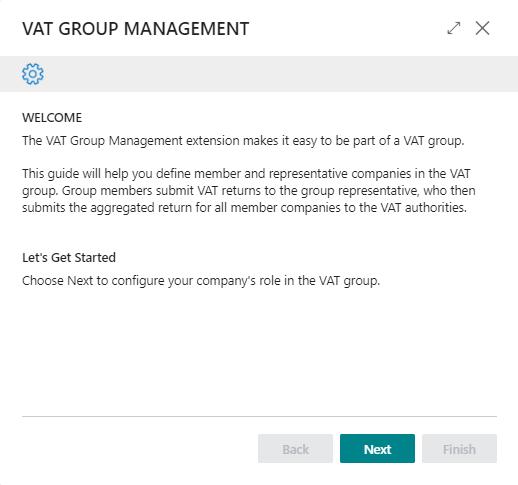 VAT Group Management setup