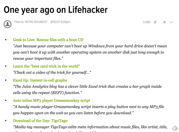 Lifehacker's 'one year ago' sneeze page