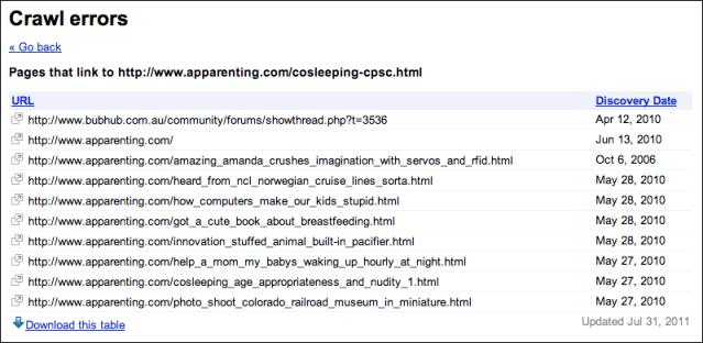 Webmaster Tools specific crawl errors