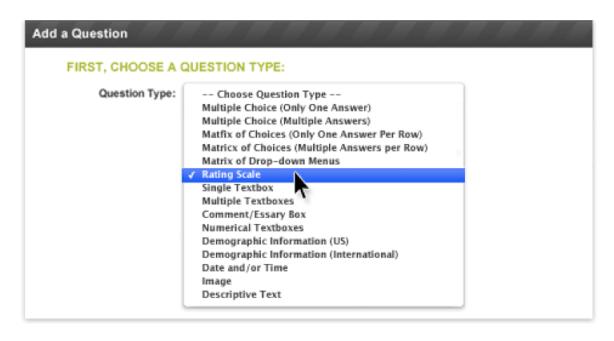 Survey Monkey Question Selection