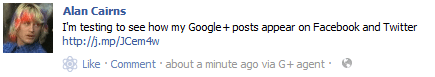 Google+ feeds to Facebook