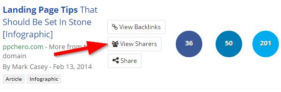 Finding sharers on Buzzsumo