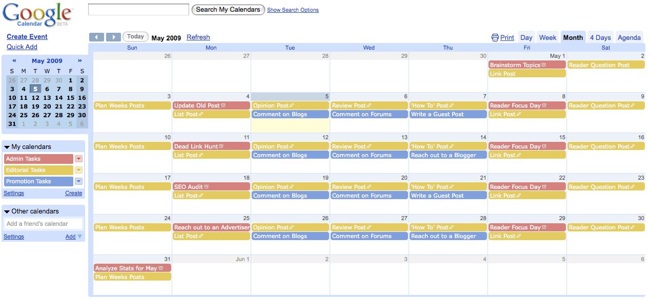 Trello Editorial Calendar