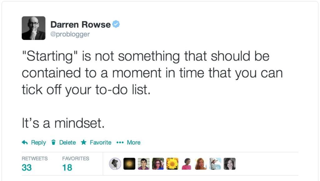 Starting is a mindset tweet ProBlogger
