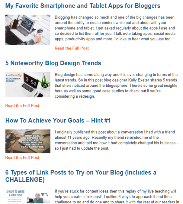 Weekly digest example of newsletter content