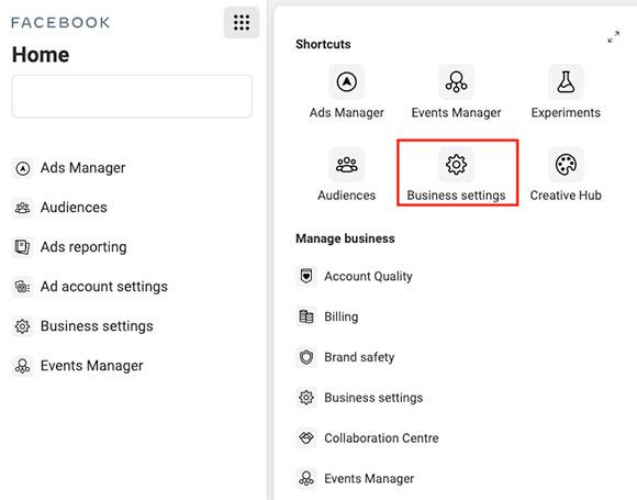 screenshot facebook business manager