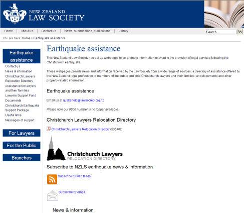 NZLS Earthquake site