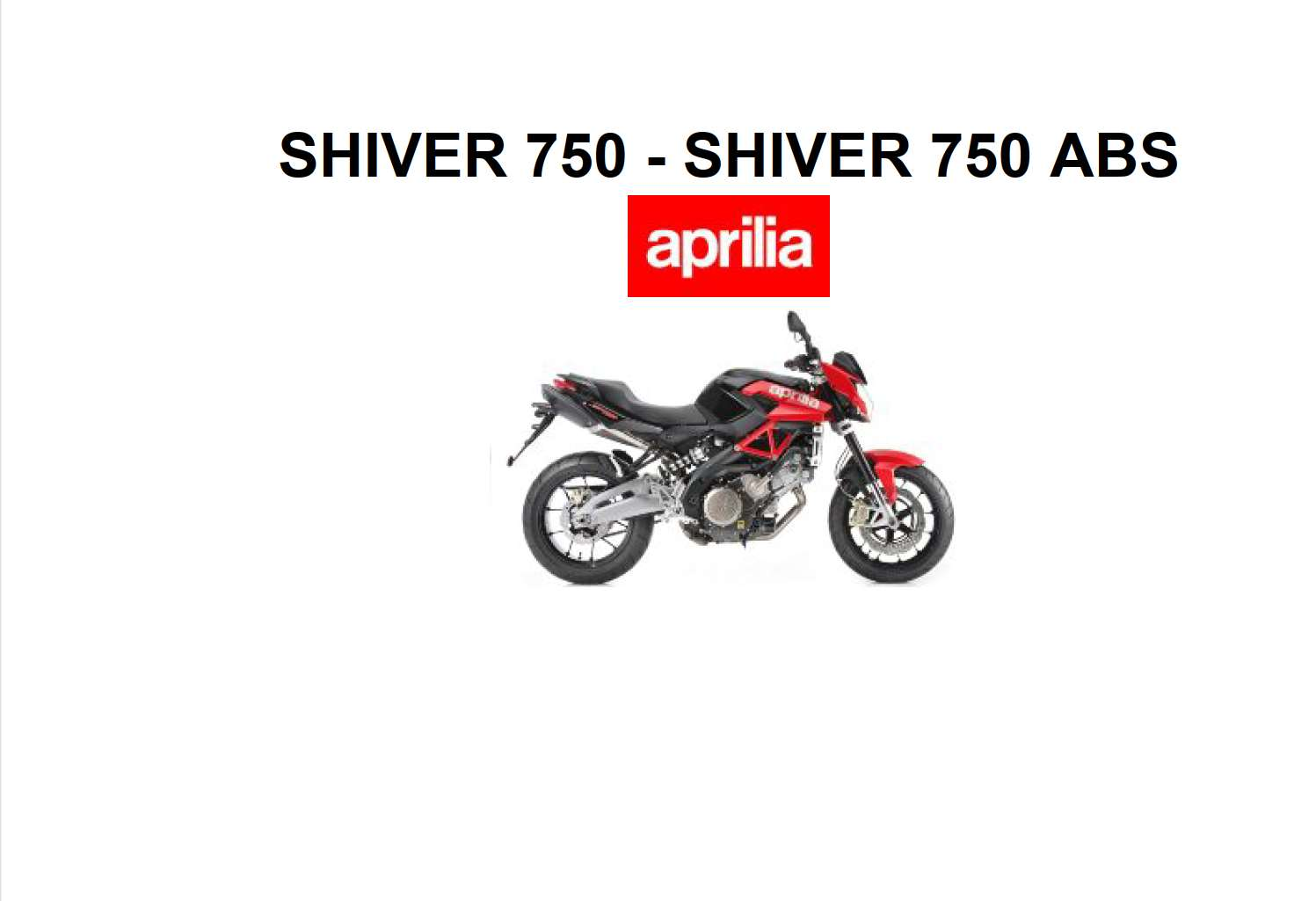 Aprilia Shiver 750 Owner S Manual