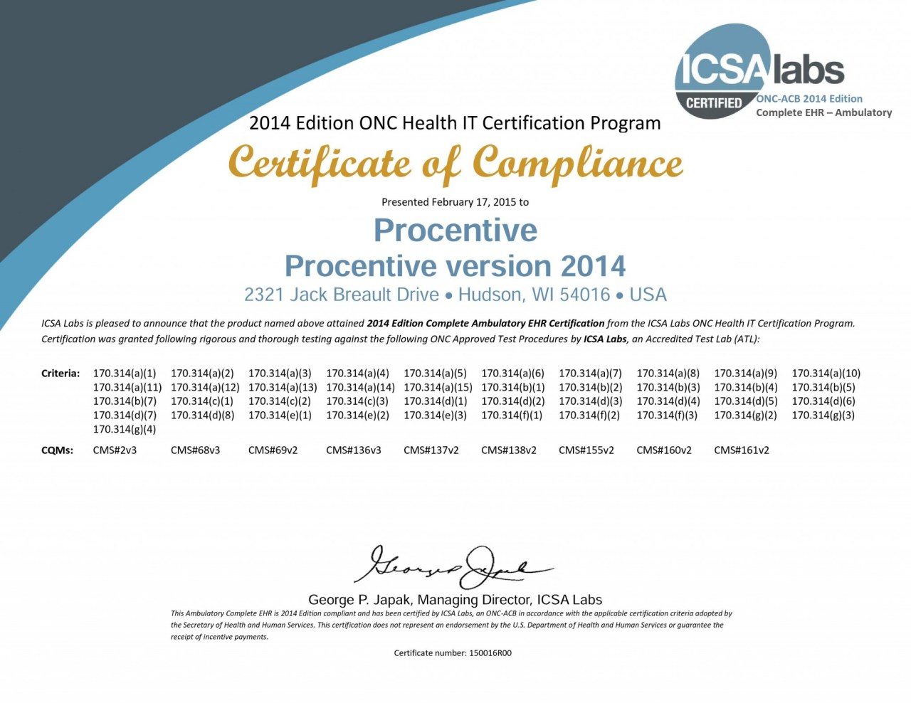 Procentive Meaningful Use Certificate