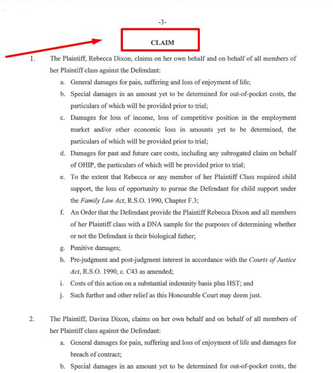 characteristics of statement of claim 2