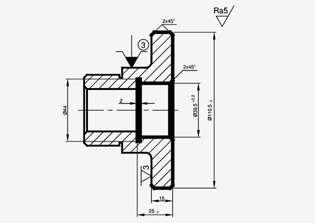 Ilustracja 1. Proces technologiczny tulei - operacja 20 (druga).