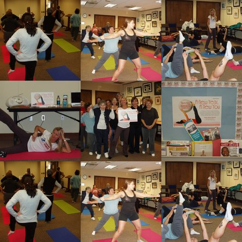 Gabrielle Drorscakova, CPT/Nutritionist/Owner of Lavallette Personal Fitness lead area residents in a gentle workout comprised of pilates and core strengthening exercises.  The program held at the Upper Shores Branch, A New Year, A New You, made area residents happy to get 2009 off to a good start by centering on health & wellness!