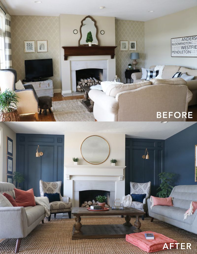 before and after photo of redesigning a living room. Before photo has white couches and white walls and is outdated. After photo has pops of blue on the walls with more modern furniture: light grey couches and pretty armchairs.
