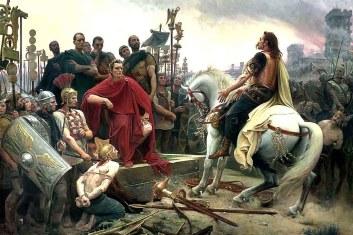 Vercingétorix depone sus armas a los pies de César