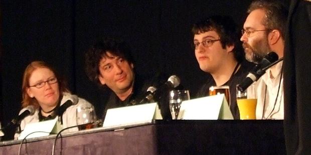 Sharon Lewis-Jones, Neil Gaiman, myself and David Haddock on a panel.