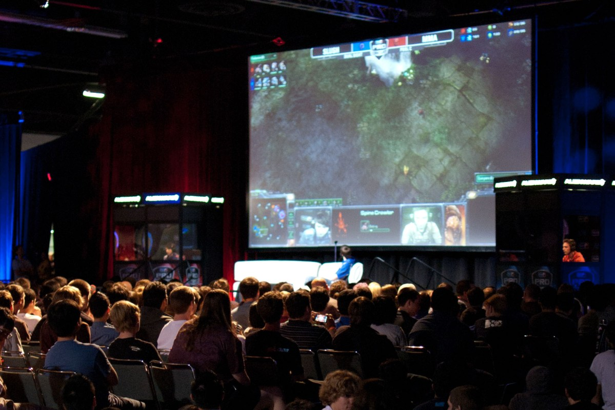 The crowd watching a game of StarCraft II at MLG Anaheim in 2011.