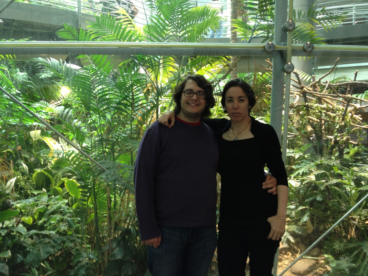 España and I standing in front of the rainforest area at the Academy of Sciences.