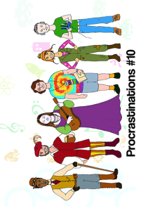 Six convention attendees, from left to right: someone wearing steampunk dress; someone wearing renaissance faire dress, someone wearing a purple dress and holding a string instrument, someone wearing shorts and a tie-dye T-shirt with a convention badge and holding a readme; someone wearing Firefly cosplay; and someone wearing a gaming t-shirt holding a controller.