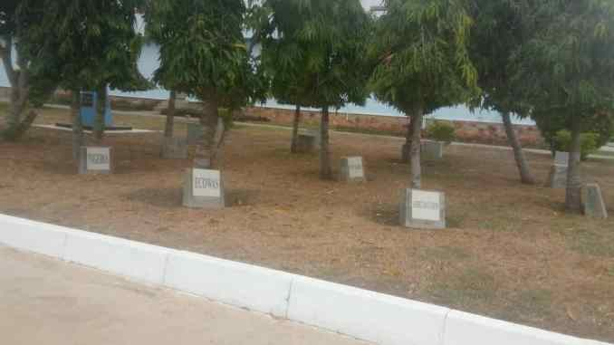 This is Kofi Peacekeeping Training Centre, Teshie, Accra, Ghana. Each country and certain individuals has a tree in their names.