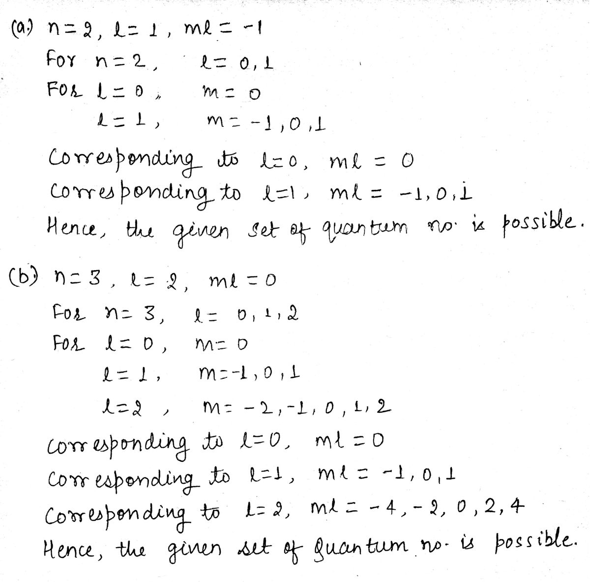 Answered Which Set Of Quantum Numbers Cannot