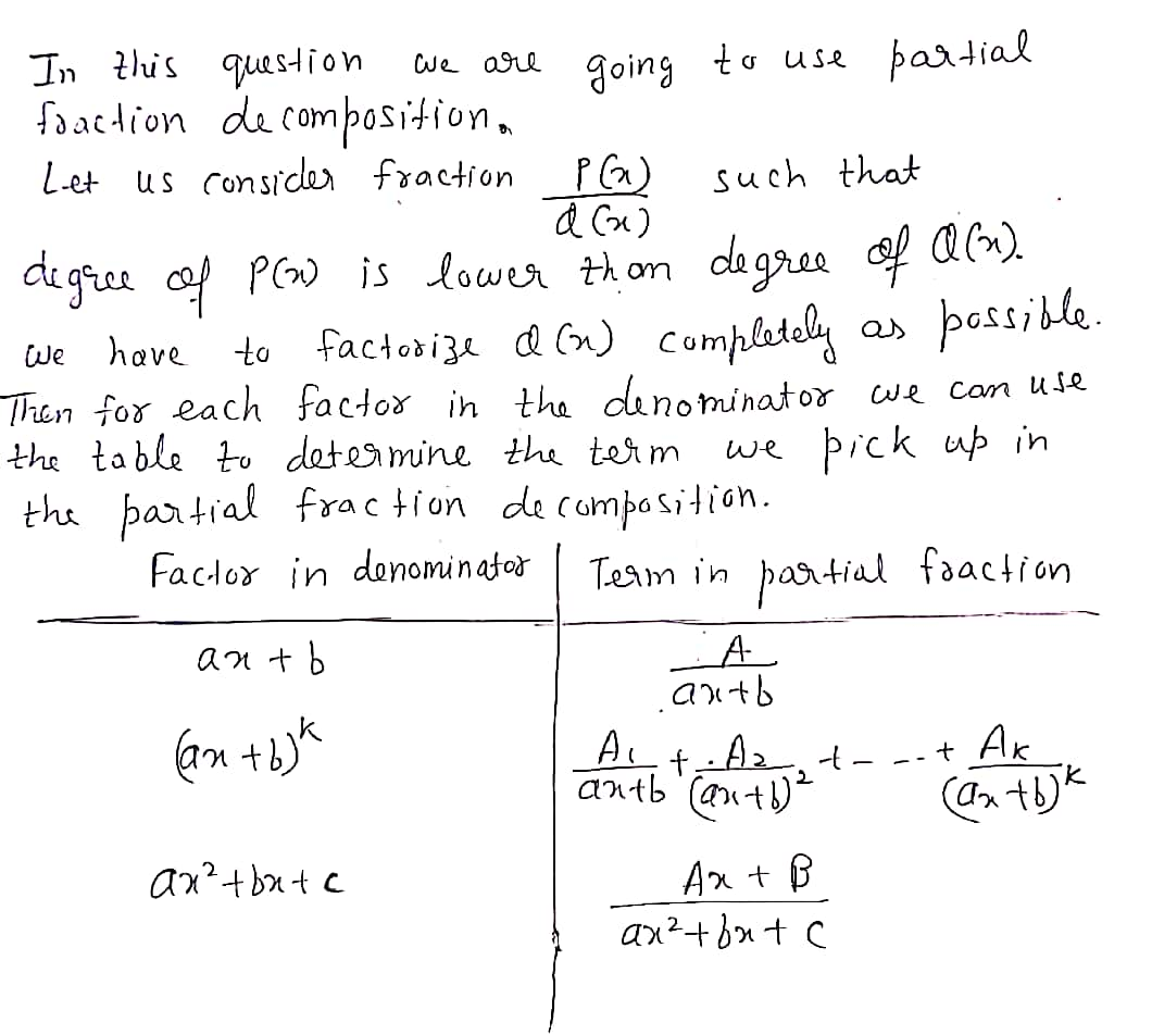 Answered Use Partial Fraction Decomposition To