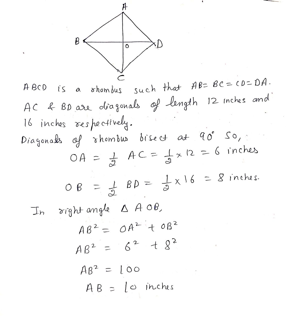 Answered 1 Find The Area Of Rhombus If The