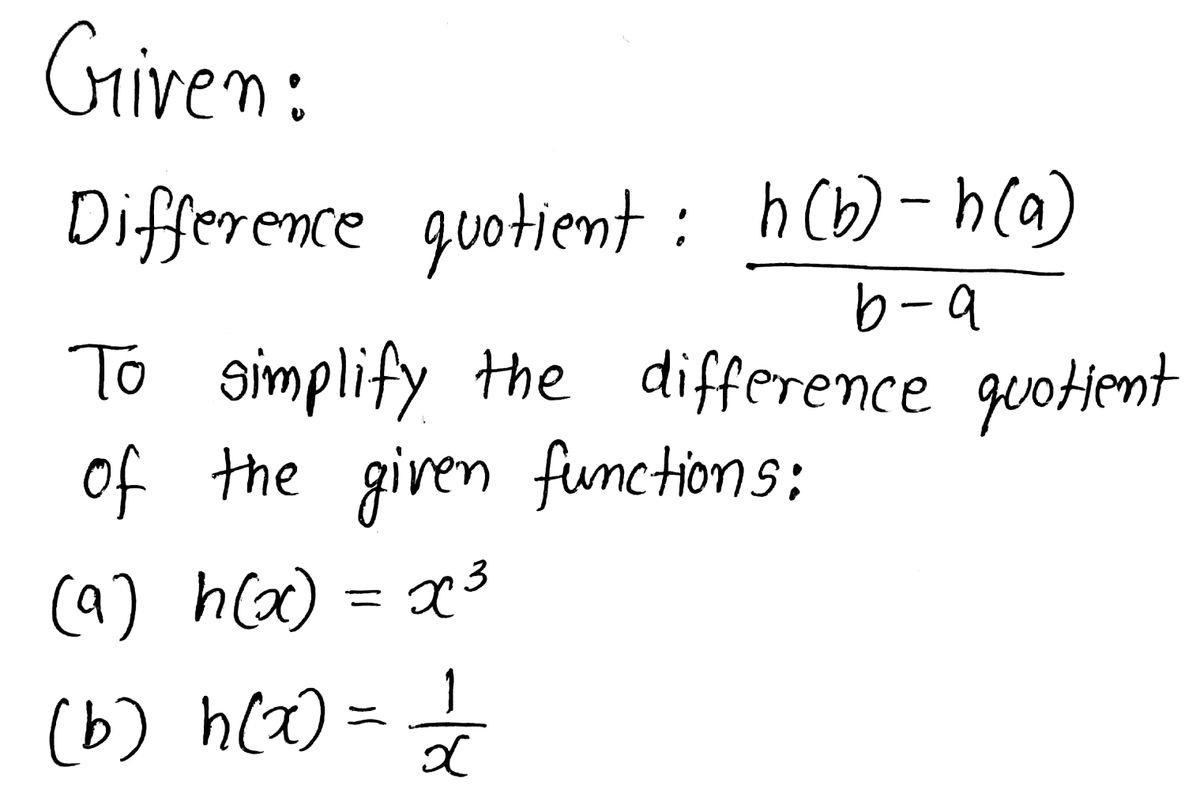 Simplify The Difference Quotient
