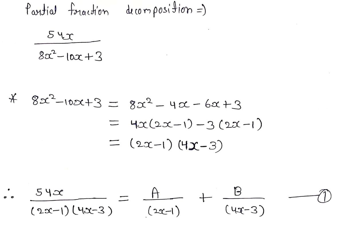 Answered 54x The Partial Fraction Decomposition