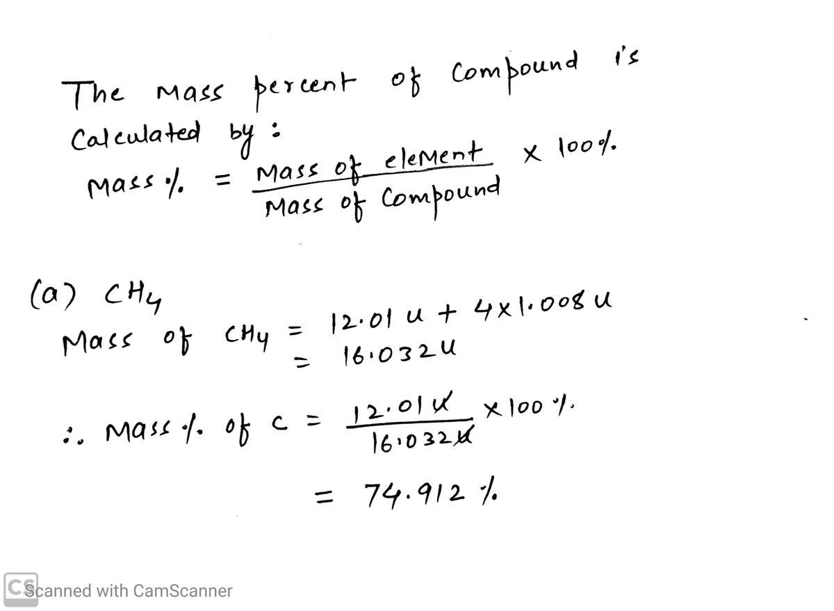 Answered Calculate The Mass Percent Composition