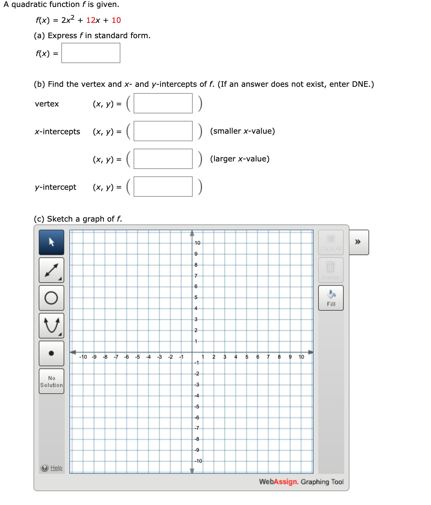 Answered F X 2x2 12x 10 3d A Express F