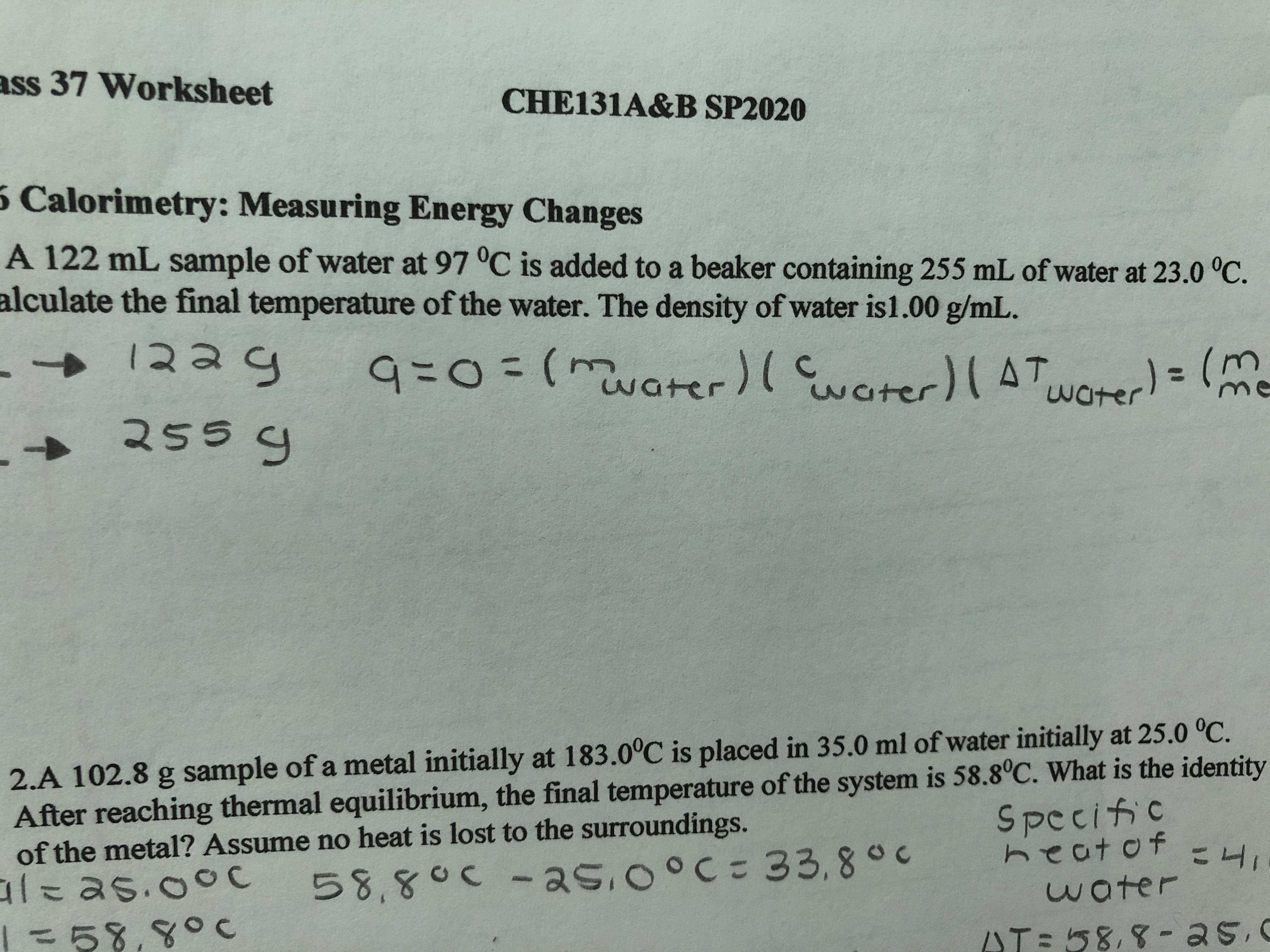 Answered Ass 37 Worksheet Che131a Amp B Sp 5