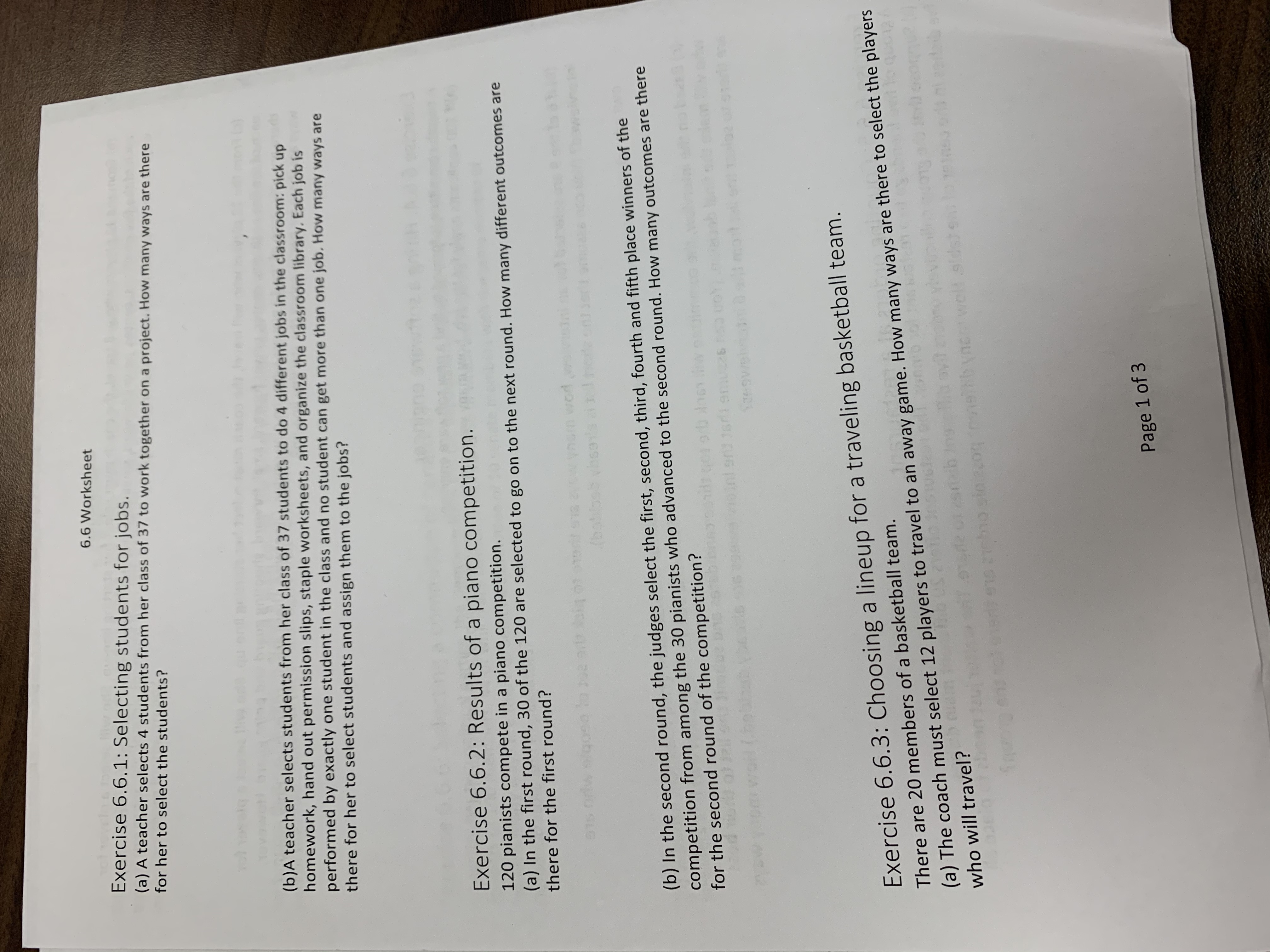 Answered 6 6 Worksheet Exercise 6 6 1 Selecting