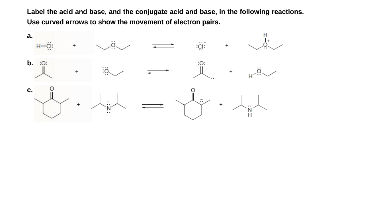 Answered Label The Acid And Base And The